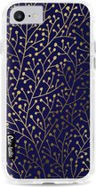 Apple iPhone 7 / iPhone 8 / iPhone SE (2020) hoesje Berry Branches Navy Gold Casetastic Smartphone Hoesje Hard Cover case