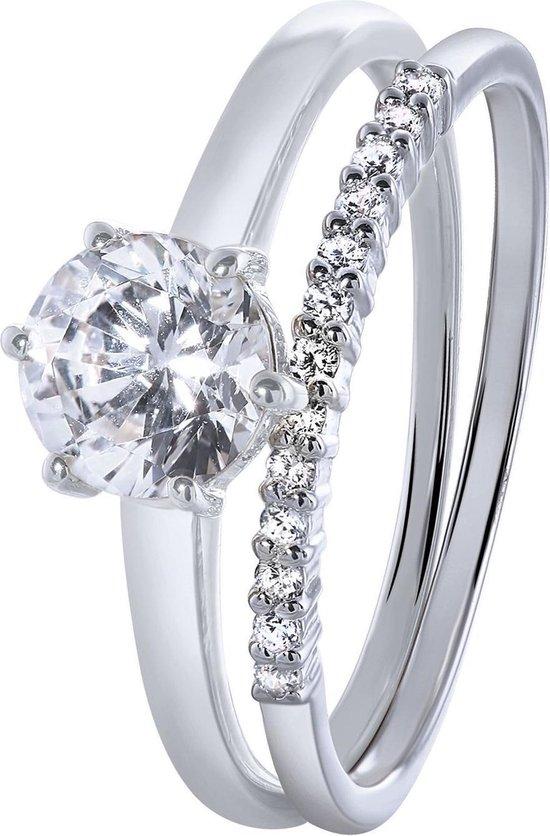 Lucardi - Zilveren ring met zirkonia - Lucardi