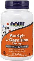 Now Foods Voedingssupplementen Acetyl L Carnitine, 750 mg (90 Tablets) - Now Foods