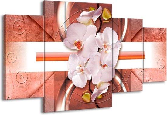 Canvas schilderij Orchidee | Wit, Rood | 160x90cm 4Luik