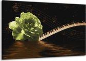 Canvas schilderij Roos   Groen, Bruin, Zwart   140x90cm 1Luik