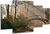 Schilderij | Canvas Schilderij Brug, Natuur | Grijs, Groen, Bruin | 160x90cm 4Luik | Foto print op Canvas