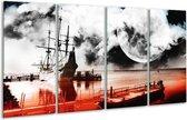 Glasschilderij Modern   Rood, Grijs, Zwart   160x80cm 4Luik   Foto print op Glas    F004424