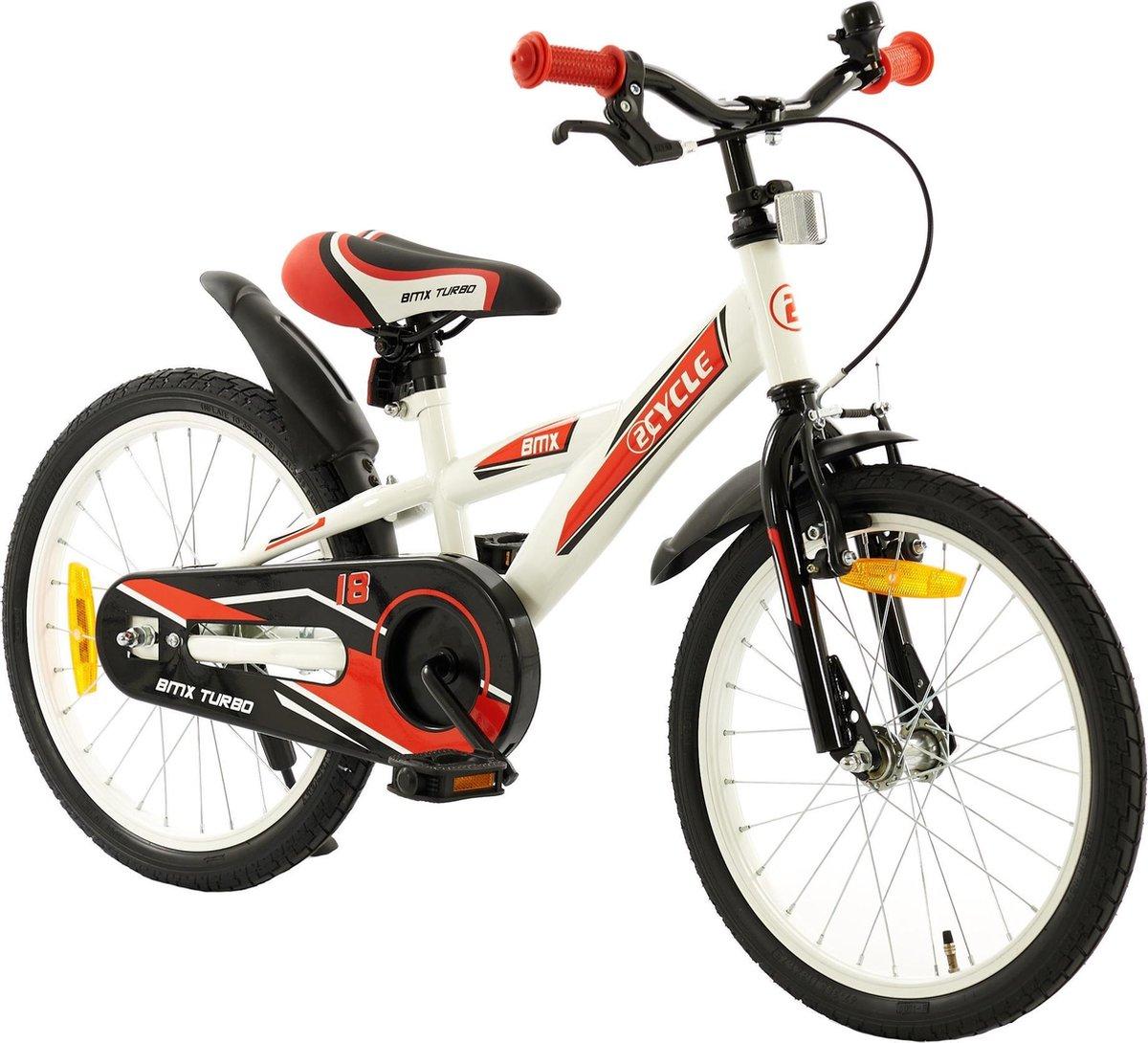 2Cycle BMX Kinderfiets - 18 inch - Wit-Rood - Jongensfiets