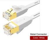 DrPhone Ethernetkabel CAT6 Platte RJ45 Lan Netwerk Kabel - 1Gbps (1000 Mbps) geschikt voor Computer Router Laptop etc  - 2 Meter - Wit
