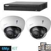 Full HD IP kit 2x dome 6 Megapixel camerabeveiliging set