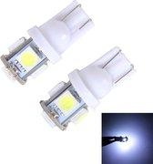 2 STKS T10 3 W 5500 K SMD 5630 5 LED Auto Klaring Lichten Lamp, DC 12 V (Wit Licht)