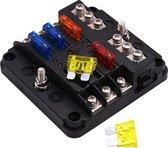 Onafhankelijke positieve en negatieve 1 in 6 uit 6 Way Circuit Blade zekeringkast zekeringhouder Kits met LED waarschuwingslampje voor Auto Truck Boot