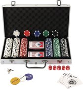 Pokerset 300 Chips in Aluminium Koffer inclusief gratis Ebook 'Poker for Dummies' - 300 chips - 2 decks - 5 dices - dealer button - small blind button - big blind button