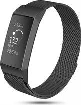 Fitbit charge 3 & 4 milanese band - zwart - SM - Horlogeband Armband Polsband