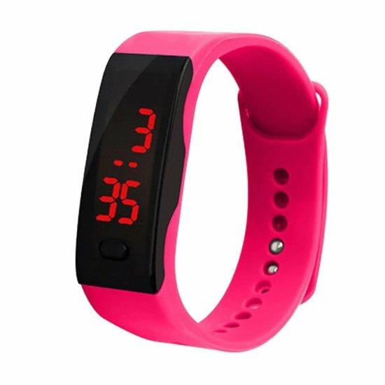 LED Sporthorloge – Digitaal Horloge – Kinderen – Rubber – Roze – Ø 20 mm