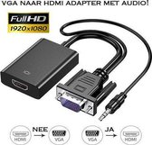 VGA naar HDMI Adapter Kabel / VGA Kabel naar HDMI Converter Omvormer met Audio & USB Voeding / Zwart