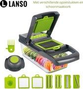 Lanso® Multifunctionele Groentesnijder - Mandoline - Keukensnijder - Inclusief 8 Opzetstukken - Uiensnijder - Vaatwasserbestendig - Frietsnijder