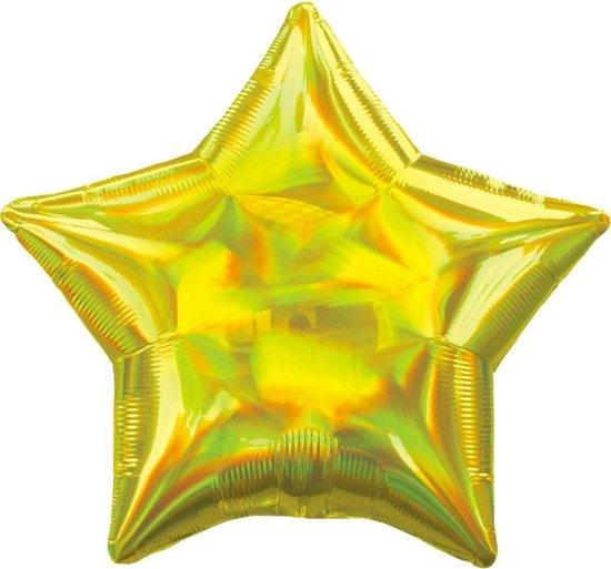 Standard Holographic Iridescent Yellow Star Foil Balloon S55 Bulk