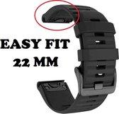 Firsttee - Siliconen Horlogeband - EASY FIT - Voor GARMIN - ZWART - 22 MM - Horlogebandjes - Quick Release - Easy Click - Garmin - S60 - S62 - Fenix 5 - Forerunner 935 - Fenix 6 (Pro) - Horloge bandje - Golfkleding - Golf accessoires - Cadeau