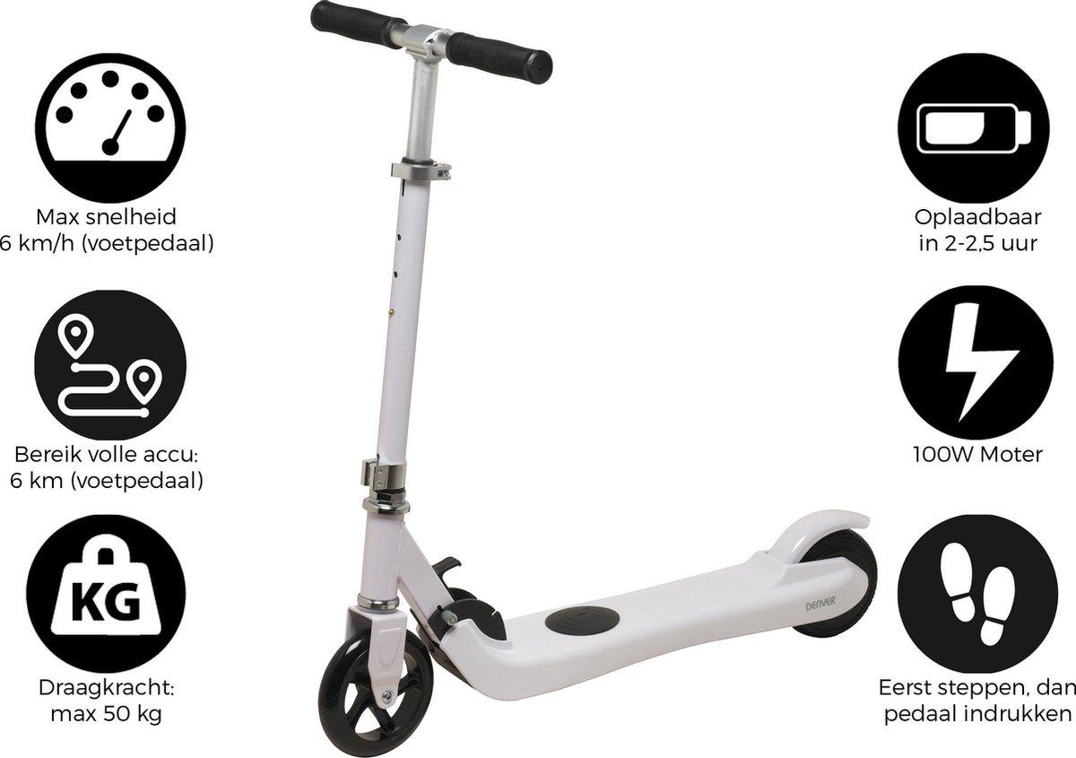 """Denver SCK-5300WHITE, Elektrische step / 5"""" wielen / kick scooter / inklapbaar / Maximale snelheid 6km / Wit"""