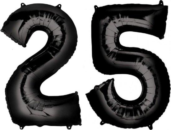 Ballon Cijfer 25 Jaar Zwart Verjaardag Versiering Zwarten Helium Ballonnen Feest Versiering 86 Cm XL Formaat Met Rietje