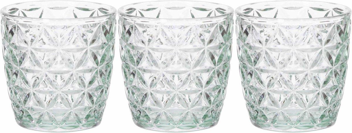 Set van 3x stuks theelichthouders/waxinelichthouders glas mintgroen 9 x 9 cm bloemen motief