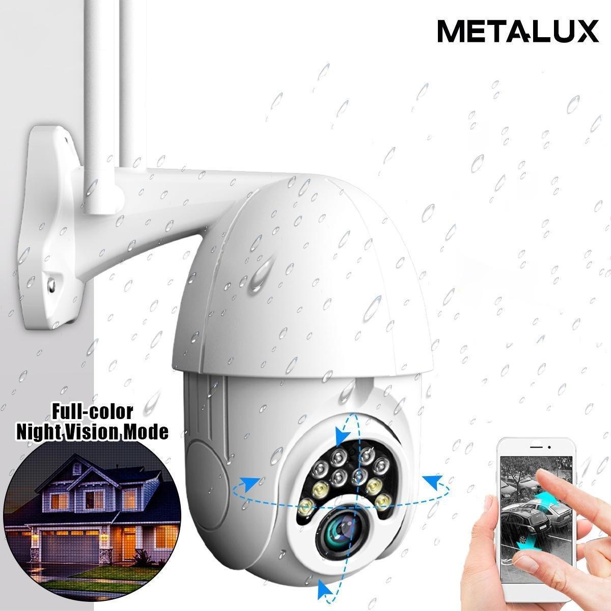 BEWAKINGSCAMERA WiFi V380 IP Camera WIT  5x ZOOM  Bewegingsmelder   10 LED  Bewakingscamera voor bui