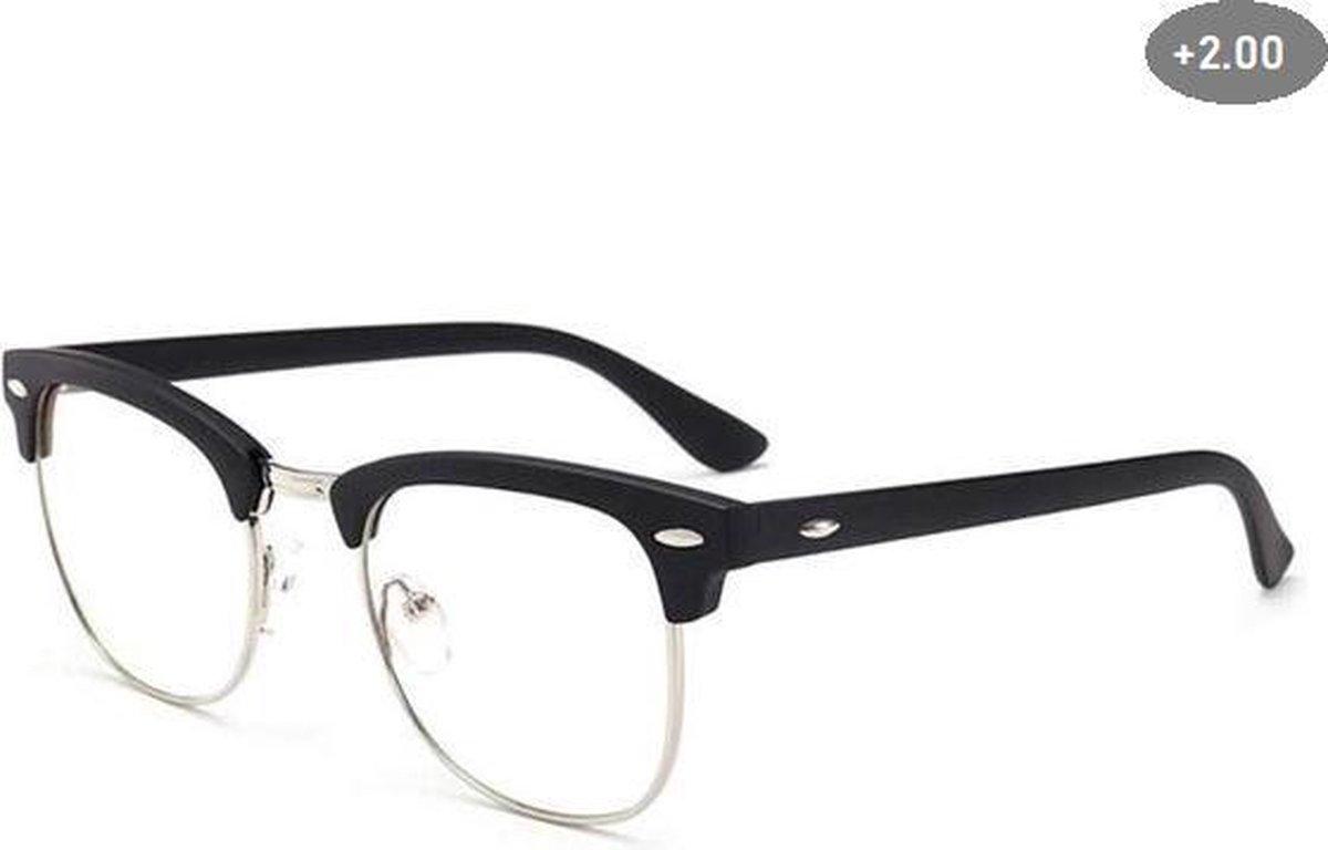 Computer Bril - Anti Blauwlicht Beeldscherm Filter Bril - Bluelight bril - Blauw licht leesbril - Zwart/Goud - Blue light glasses - Leesbril Op sterkte +2.00 kopen