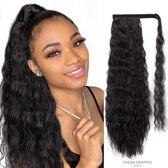Chula Lifestyle Paardenstaart Haar Extension Zwart Lang Krullend Golvend 56 cm - Ponytail Extensions Black Long Curly Wavy 22 inch