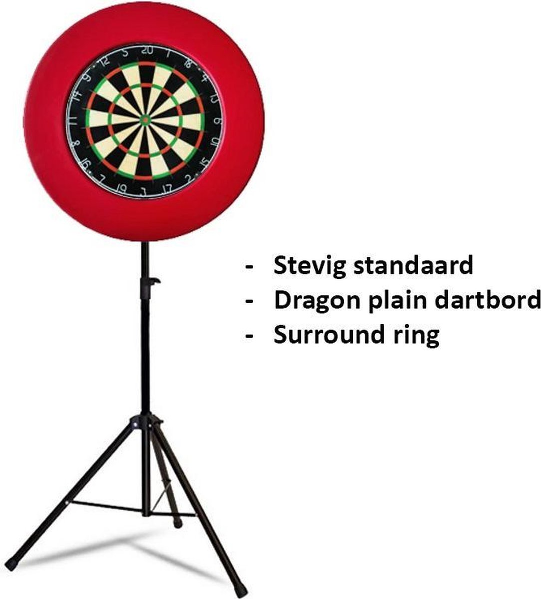 Dragon darts - Portable dartbord standaard pakket - inclusief best geteste - dartbord en - dartbord surround ring - rood
