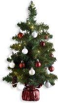 Kunstkerstboom versierd H50 cm - Met verlichting en kerstballen - Kerstboom - Groen