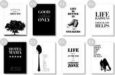 Postkaarten Zwart/Wit A6, set van 16 stuks, enkele kaarten
