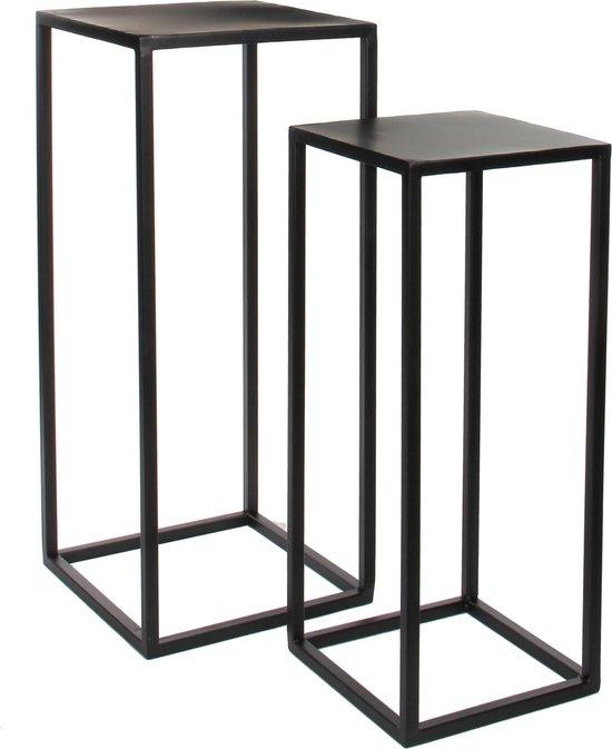 Mica Decorations Goa tafel - Zwart - Set van 2 - groot: 30x30x70 cm, klein: 25x25x60 cm