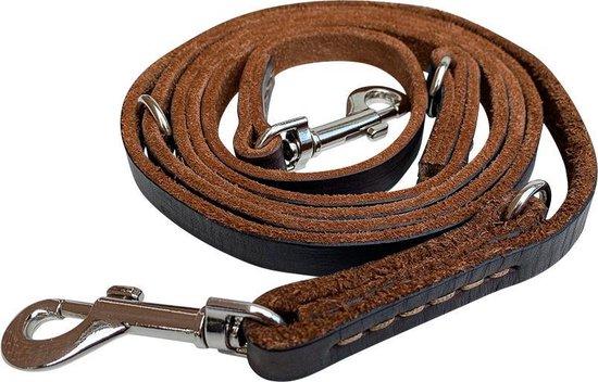 Multifunctionele Hondenriem - 220cm - Bruin - leren hondenriem - 100% volnerfleer - hondenriem leer - leiband hond