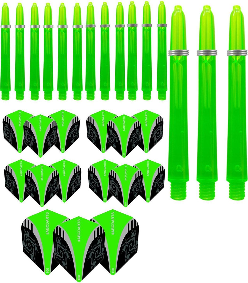 ABCDarts Tribal Dart Flights - Edgeglow Dart Shafts Medium - Groen - 5 sets