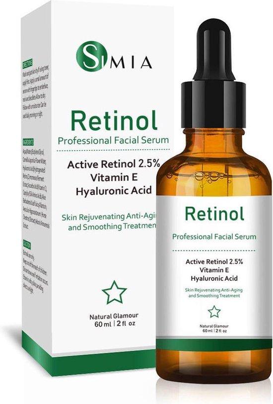 Simia™ Original Active Retinol Serum - Met Vitamine E & Hyaluronzuur - Gezichtsserum - Collageen - Anti Aging - Celvernieuwing - Anti-Acne - Tegen Mee-eters en Grove Poriën - Tegen Pigmentvlekken - 60ml
