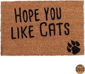 relaxdays deurmat spreuk dog cat - 40 x 60 cm - kokosvezels - schoonloopmat - antislip Kat