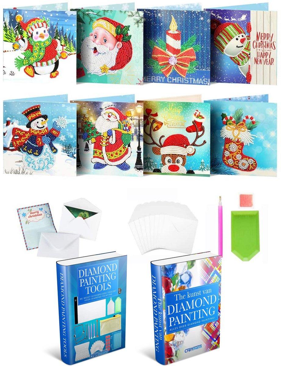 Crafterman™ Diamond Painting Kerstkaarten pakket Volwassenen - RONDE STEENTJES! - Kerstman - Pinguin - Sneeuwpop - sok - rendier - 8 Pack - Met tijdelijk E-Book