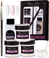 Miss Jules® Acryl Nagels Starterspakket - Wit, Roze & Transparant - Professionele Kunstnagels