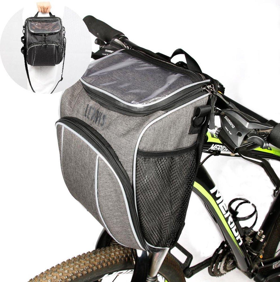 Levevis: fietstas en schoudertas  met smartphonehouder - Mobielhouder fiets - stuurtas enkel - frame