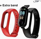 Stappenteller Zwart met extra Rode band - Calorieënmeter - Hartslagmeter - Sport horloge - Bloeddrukmeter - Afstandmeter - Smart Bracelet - IOS & Android - New Model 2020 - Voor Heren en Dames