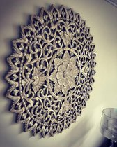 Flowee Mandala - Wanddecoratie Houten wandpaneel - Greywash - 120 cm