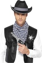 Western Kit Black Mock Leather Waistcoat Hat Badge & Neckscarf