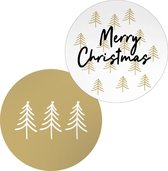 20x Kerststicker / Sticker voor Kerstcadeau / Sticker Kerst | MERRY CHRISTMAS | 45 mm |  wit / goud / zwart