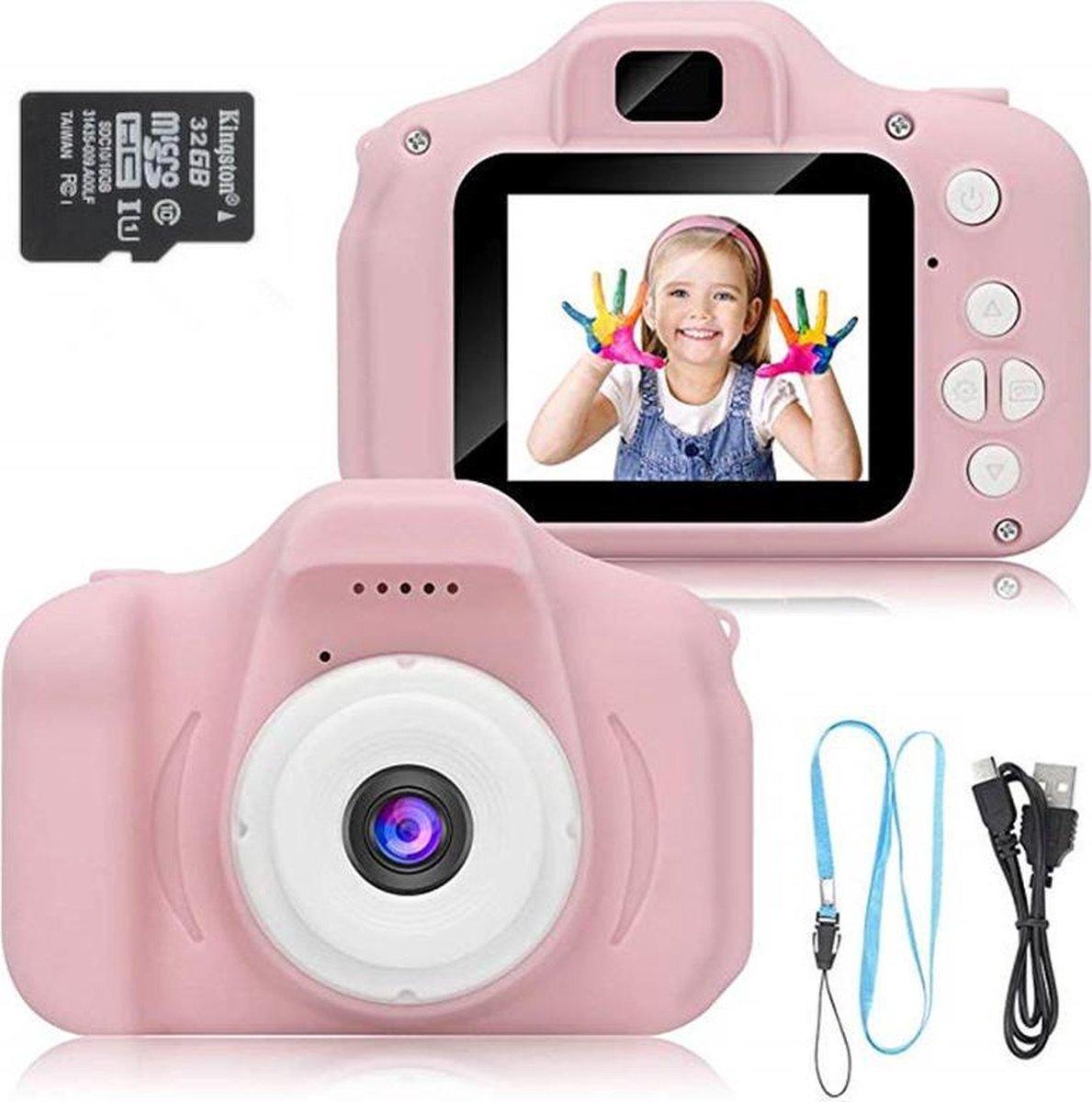 Jukxo Kindercamera Roze   Inclusief 5 Spellen en 32GB SD-kaart   Digitale Kindercamera -Kinderfototo