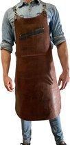 BBQ Schort - Leren Schort Schort - luxe leren schort - Barbecueschort - Lederen Schort  BRUIN - Kokschort - Kookschort – Keukenschort Man - kado - gift - Rielse Reuzen - IN PRACHTIGE KADO VERPAKKING