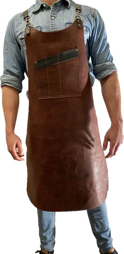 BBQ Schort - Leren Schort Schort - luxe leren schort - Barbecueschort - Lederen Schort BRUIN - Kokschort - Kookschort – Keukenschort Man - kado kerst - gift - Rielse Reuzen - PRACHTIGE KADO VERPAKKING