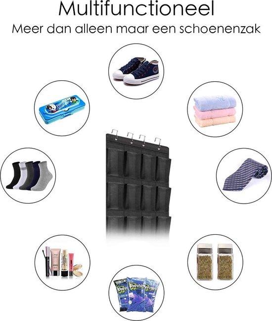 FLOKOO Schoenenkast Hangend - Schoenenzak 24 vakken - Opbergen van Schoenen aan Deur - Schoenenzak Zwart - Oplossing voor rondslingerende schoenen - Hoogwaardige Schoenenkast