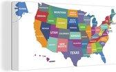Canvas Schilderijen - Kleurrijke landkaarten VS op witte achtergrond - 80x40 cm - Wanddecoratie