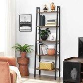 MIRA Home - Boekenkast - Industrieel - 5 Planken - Zwart/bruin - 56x34x172