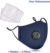 Mondkapje - Mondkapje met ademhalings filter - Donker Blauw - Navy - Wasbaar - Herbruikbaar - Adembescherming - 2 Gratis Filters