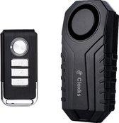 Cloxks – Fietsalarm – Multifunctioneel fietsalarm met afstandsbediening – Alarmsysteem draadloos voor fiets–scooter–motor–raam–deur–huis – Alarm voor fiets – Bike alarm – Fietsalarm voor E-bike – 113 decibel – Waterdicht – Fietsslot – SOS-functie