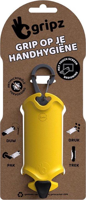 Gripz - schone handen, handhygiëne, preventie, antimicrobieel, winkelwagentjes, OV, geen mondkapje maar handkapje -  geel 109C