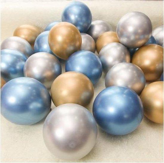 Blauw - Goud - Zilver | Kleine Ballonnen - 5 inch | 9 stuks | Baby Shower - Kraamfeest - Verjaardag - Geboorte - Fotoshoot - Wedding - Marriage - Birthday - Party - Feest - Event - Jubileum - Valentijn - Huwelijk